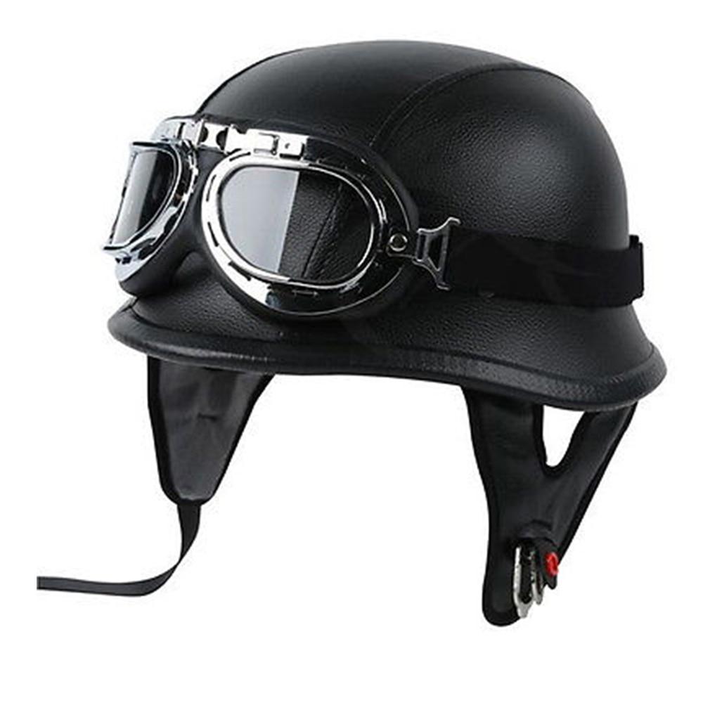 Cuero Retro de la motocicleta del casco de piloto de helicóptero Cafe Racer casco Vintage Moto casco de la motocicleta para la motocicleta