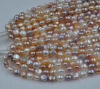 wholesale 5 strands 99 5 11mm baroque freshwater pearl strings good shiny