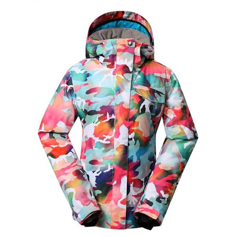 GSOU, chaquetas de camuflaje de nieve para mujer, ropa de snowboard, abrigos deportivos para exteriores, 10 K, impermeables, trajes de esquí a prueba de viento