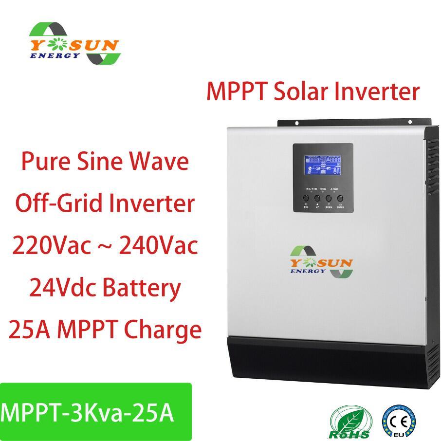 العاكس للطاقة الشمسية 3Kva MPPT 2400 واط خارج الشبكة العاكس نقية شرط لموجة العاكس البناء في 25A MPPT تحكم شاحن تيار متردد 24Vdc البطارية
