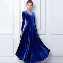 Herfst Winter Jurk Vrouwen 2020 Casual Vintage Baljurk Fluwelen Jurk Plus Size 3XL Sexy Lange Party Dress