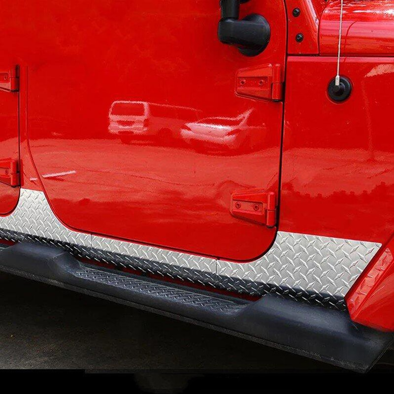 For Jeep Wrangler 2007-2016 1 Set Stainless Steel Car Side Door Body Trim Molding Accessories Side Skirt Body Kits Cover Trims