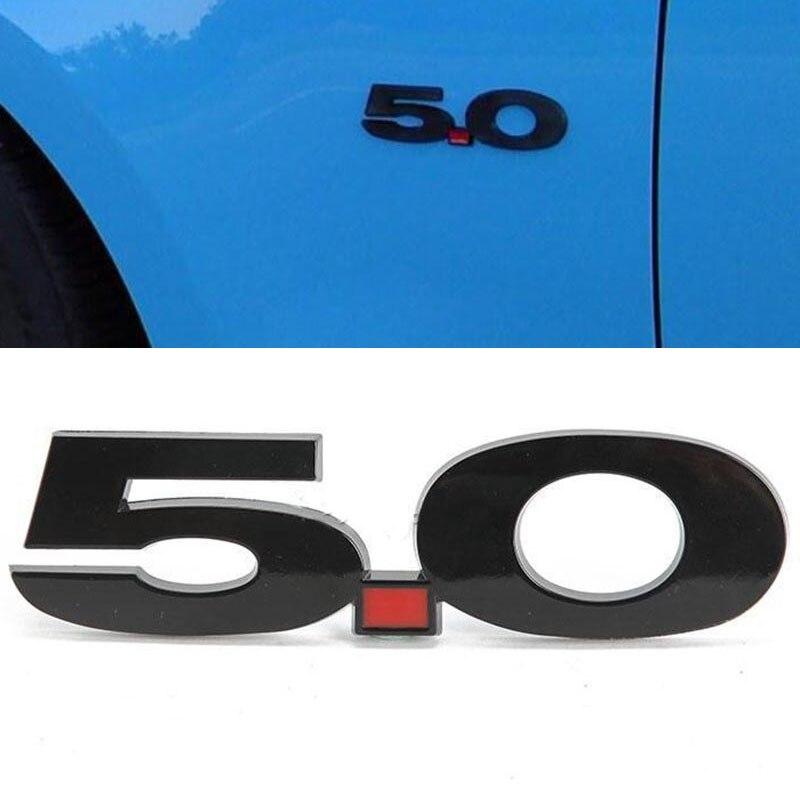 1 pçs logotipo 3d 5.0 lado fender emblema emblema adesivo para ford mustang preto
