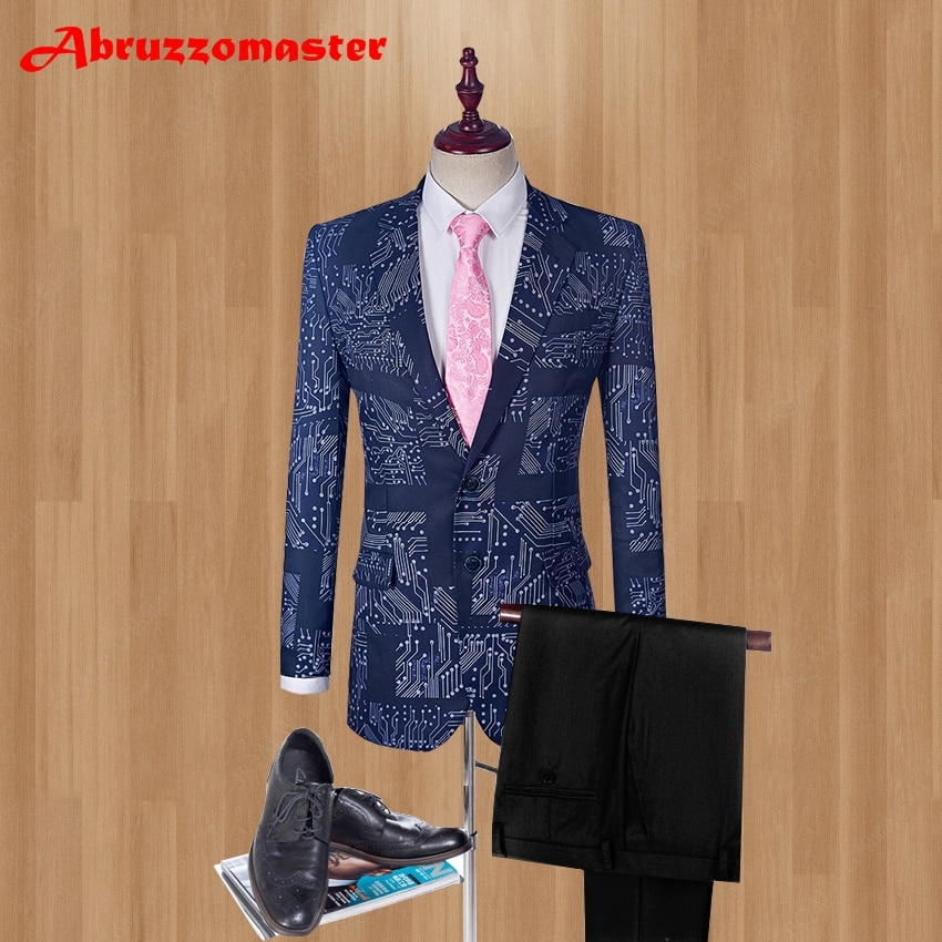 20201rinted العريس البدلات الرسمية التكنولوجيا نمط وصيف دعوى مخصص رجل دعوى مرحلة ارتداء بدلة الزفاف (سترة + السراويل)