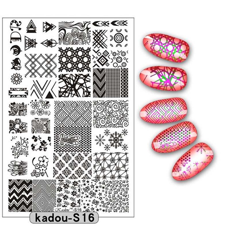 Placa de estampación para uñas de 9,5x14,5 cm, esténciles para uñas, herramientas de 16 patrones