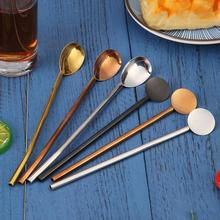 Cuillère à paille réutilisable en acier inoxydable   À boire en paille, cuillère à boire, cuillère à mélanger pour Cocktail avec accessoires de barre de brosse de nettoyage
