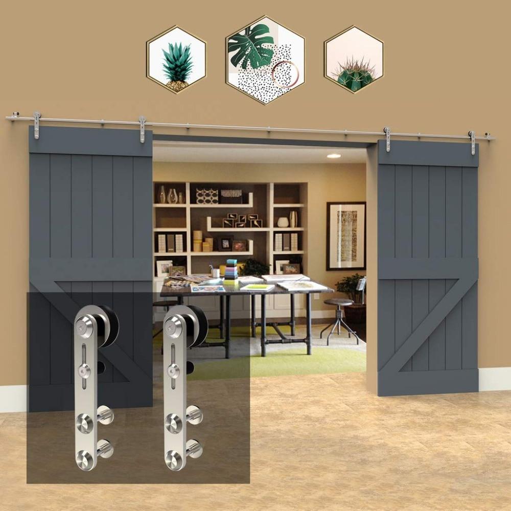 LWZH10-16FT круглая Серебристая нержавеющая сталь, деревянная и стеклянная раздвижная дверная фурнитура, набор для двойных дверей