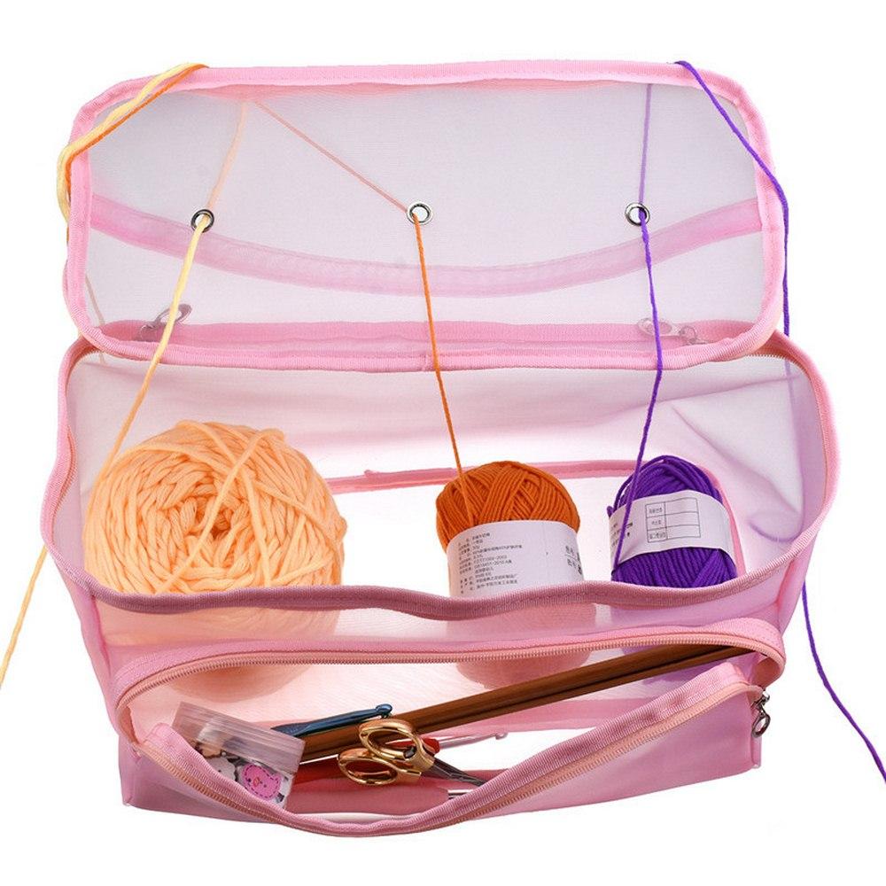 Knitting Bag Thread Organizer Yarn Storage Mesh Bag Tote Storage Case for Crocheting Hook Knitting Needles Sewing Accessories