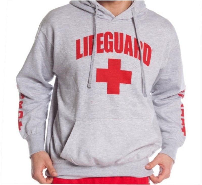 2017 autumn winter Men Hoodie Sweatshirt Fashion Print Lifeguard Hoodies Mens Casual Pullover Red Life Guard Hoodies