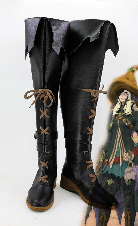 Final Fantasy XIV BLACK MAGE Cosplay Shoes Boots Black Custom Made