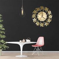 Hot Sales Round Rhinestone Flower Wall Clock Living Room Home Restaurant Hanging Decor Wall Clock Metal Iron Watch DIY Clocks