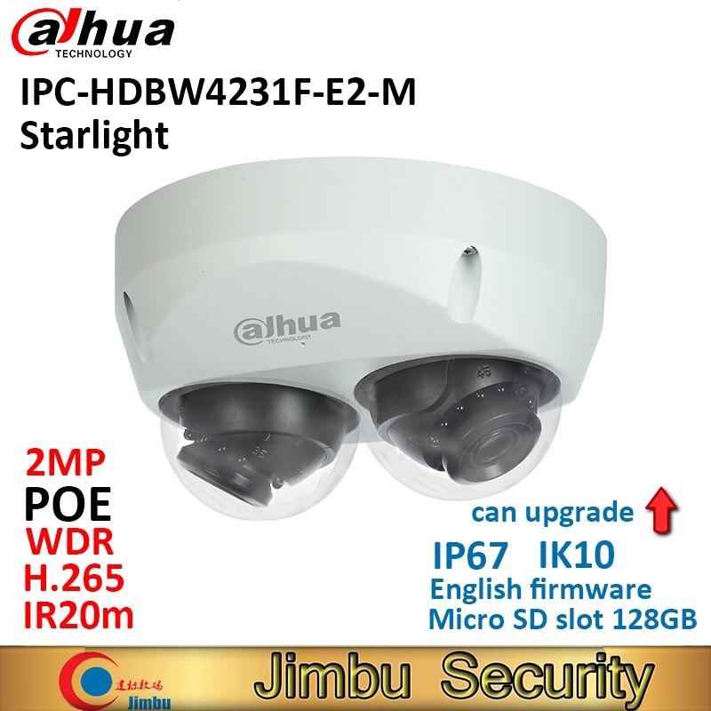 Dahua-cámara IP domo Starlight de 2x2MP, IPC-HDBW4231F-E2-M, POE, microSD, memoria, 128G, detección...