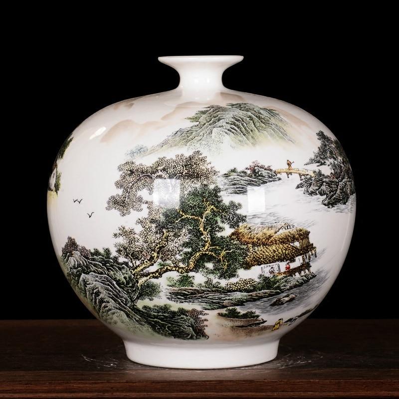 Jarrón de cerámica Jingdezhen, hueso fino de China, maestro de alta calidad, dibujo a mano, paisaje de Granada, adorno para sala de estar