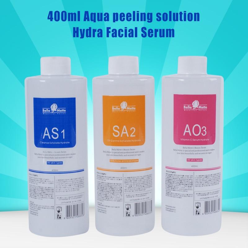 Professional hydrafacial machine use aqua peeling solution 400 ml per bottle aqua facial serum hydra facial serum