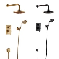 antique european ceramic shower set wall type cold and hot black bronze faucet brass bathroom mixer 8 inch rainfall shower