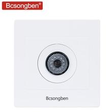 Bcsongben-interrupteur mural pour maison connectée, 200 v, contrôle sonore et lumineux, led, économie dénergie, retard, haute puissance, commutateur mural couloir, type 86, 220v