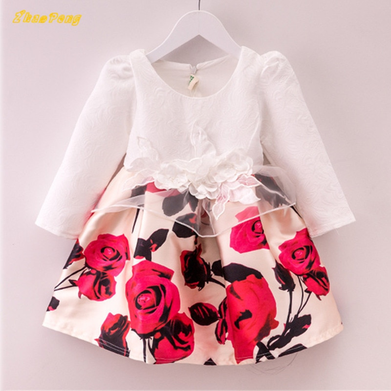 Vestido de encaje de flores para niñas, vestido de princesa de manga larga con estampado de rosas, vestidos de boda para niñas