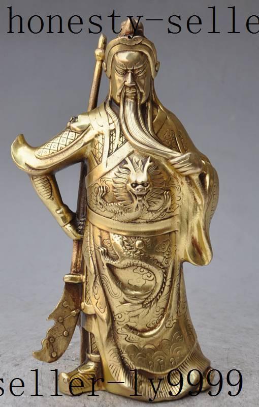 Crafts statue china folk brass dragon Warrior Generals guangong guanyu god hold Sword statue halloween