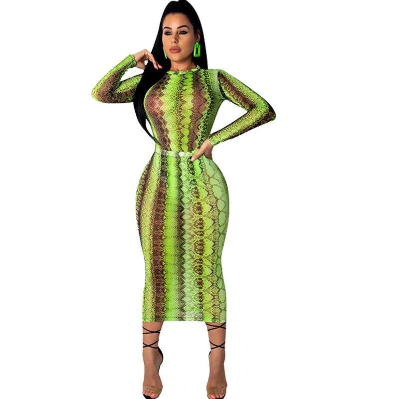 2020 Women Party Club Dress Summer Sexy Sheer Bandage Bodycon Dress Long Sleeve Neon Green Snake Print Transparent Mesh Dress