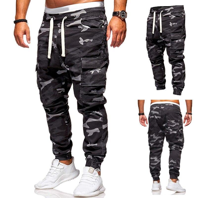 Coldker calças de carga masculina moda masculina calças de camuflagem streetwear calças masculinas carga pano calças de suor streetwear Calça Casual    -