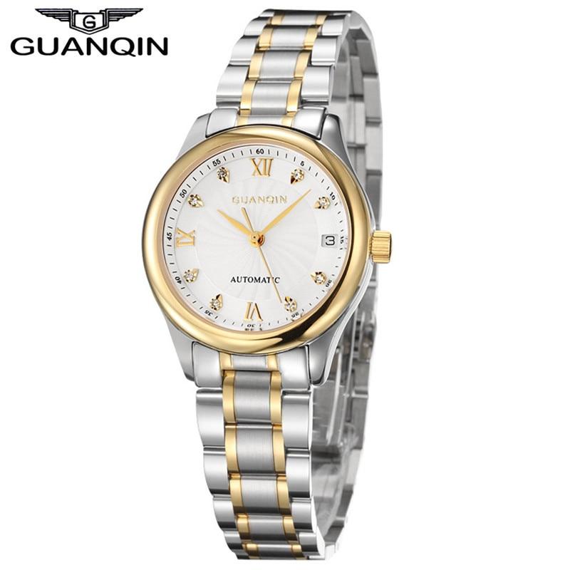 GUANQIN Watches Women Mechanical Watch Automatic Diamond Waterproof Watch Sapphire Lady Wristwatch Women Rhinestone Watches enlarge