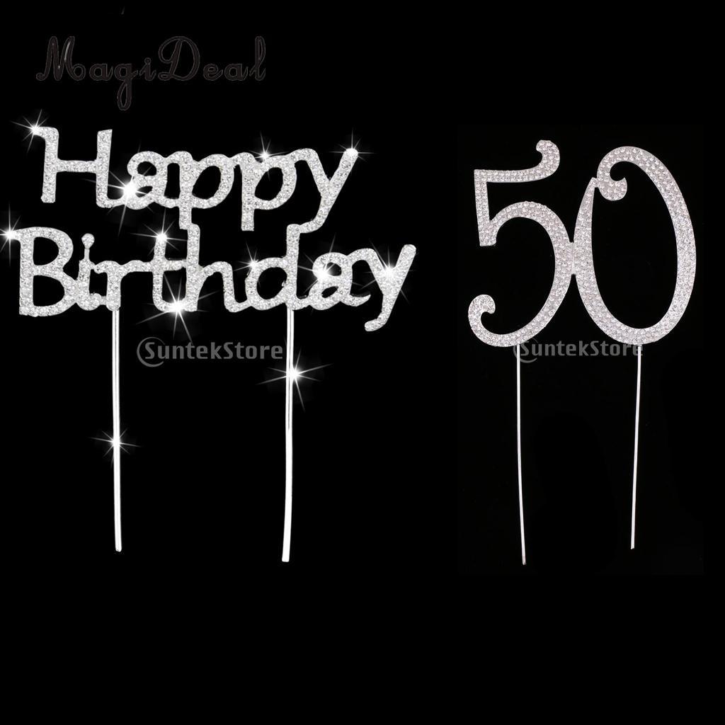 Plata de cristal Feliz cumpleaños y número de edad 50 torta decoración de fiesta de aniversario