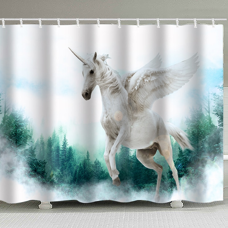 Cortina de ducha de aire con estampado Digital para decoración de baño A caballo volador