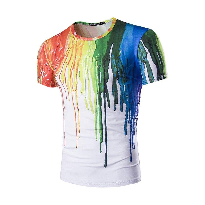 3D Splash Ink Striped Tee Shirt Homme 2018 Brand New Summer Short Sleeve T Shrit Men Casual Hip Hop Streetwear Top Tshirt Man
