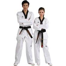 Pas cher bonne qualité enfant adulte extérieur taekwondo uniforme Poom col en v karaté dobok WTF respirant fitness sport vêtements costume TKD