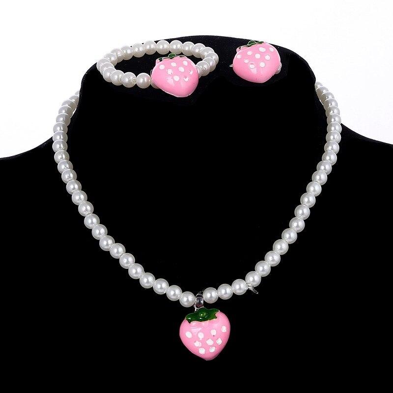 ZOSHI, venta al por mayor, perlas de imitación para niñas, collar con cuentas de fresa, pulsera, conjunto de anillos de joyería, regalo de fiesta para niños