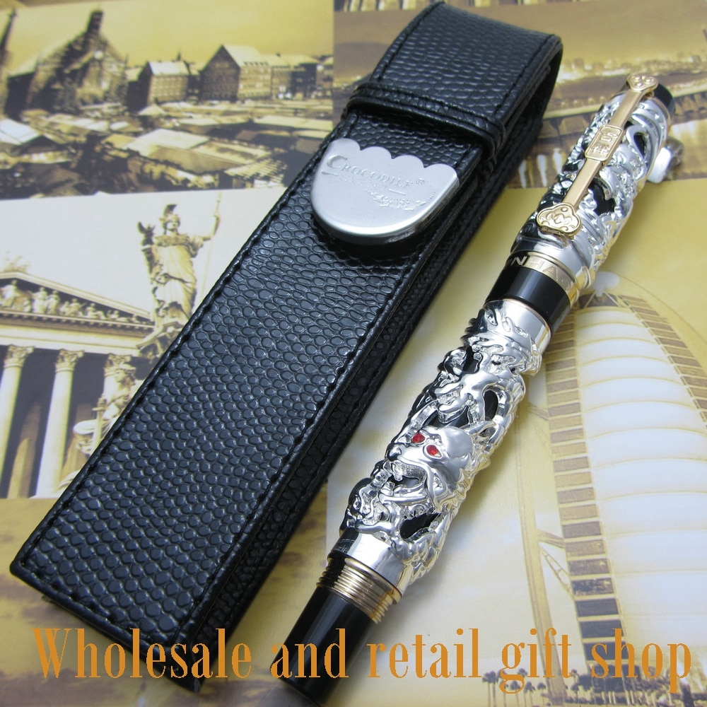 6pcs pen Jinhao Dragon Phoenix Heavy Chinese Classical Luck Clip fountain Pen and pen box