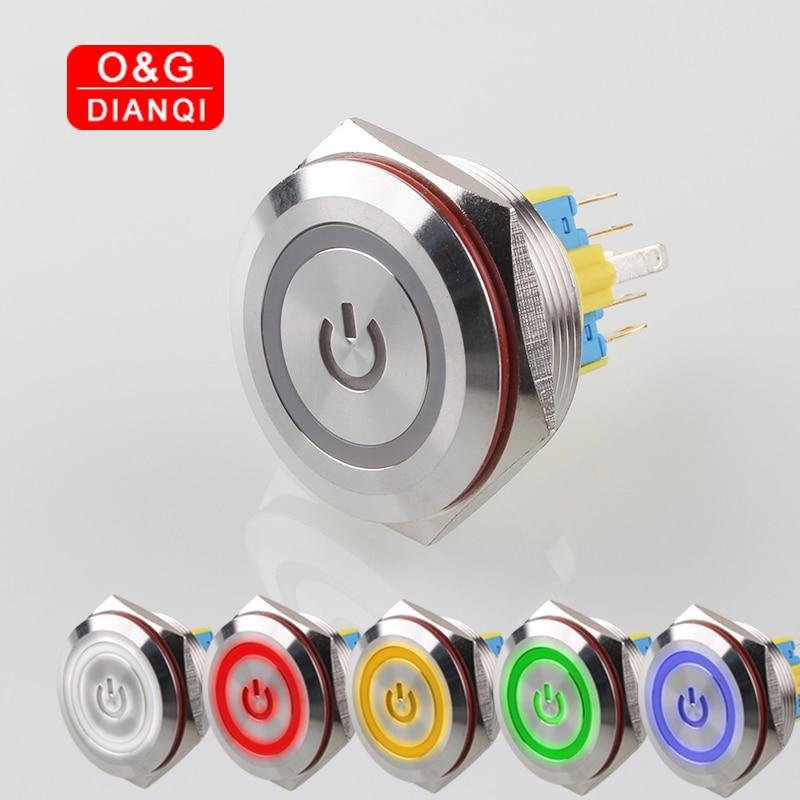 30mm interruptor de botón a prueba de agua auto bloqueo momentáneo botón interruptor con símbolo de poder anillo Led interruptor de Metal para computadora