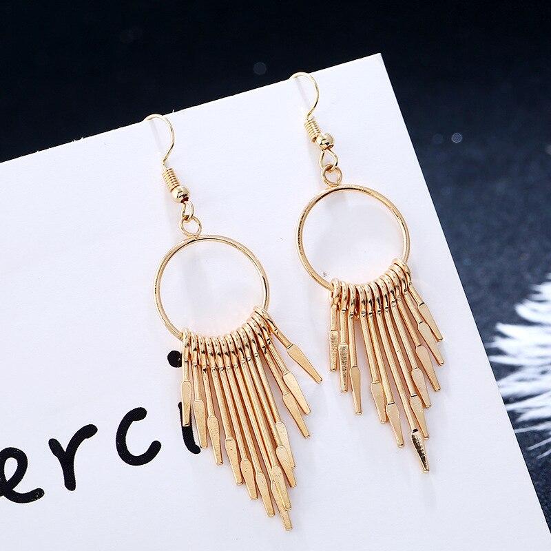 Metal Tassel Earring Silver Gold Color Geometric Punk Style Modern Drop Earring for Women Fashion Jewelry Accessories 2076