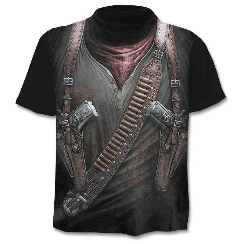 ¡Novedad de 2018! Camiseta de hombre de diseño propio Cloudstyle, camiseta de guerrero con pistola 3D, cuchillo de impresión Harajuku, camiseta de manga corta, camiseta de Fitness