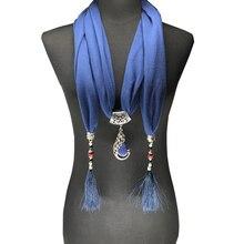 2017 Nature Stone pendant necklace Scarf Pendant Necklace  Fringe tassel Scarf Jewelry With beads Ethnic Jewelry