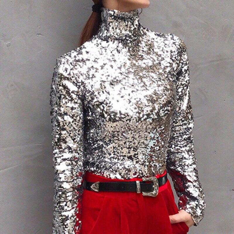 LANMREM 2020 nueva moda de primavera mujeres cuello de tortuga mangas completas lentejuelas Slim camiseta Femael Sliver Brling Top WC83910S