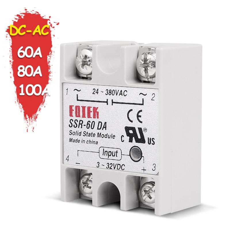 SINOTIMER SSR-60DA твердотельное реле SSR-80DA DC-AC на самом деле от 3 до 32 В постоянного тока до 24-380 В переменного тока SSR 60A 80A 100A реле без крышки