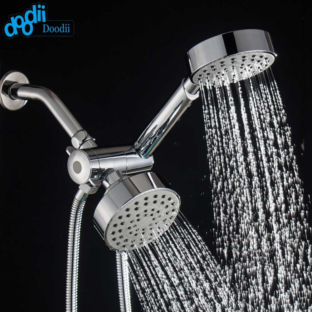 Doodii Chrome Finish Three Functions Ultra-Luxury 3-way 2 in 1 Shower-Head /Handheld-Shower Combo