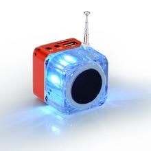 Portable FM Radio Alarm Clock Mini Speaker Acrylic Crystal LED Display Subwoofer Small Stereo Soundbox for TF U Disk MP3 Player