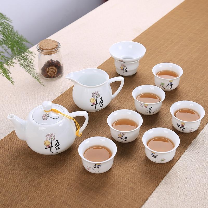 طقم شاي صيني مكون من 9 قطع من البورسلين الأزرق والأبيض طقم شاي الكونغ فو مكون من سلطانية تورين وكوب الشاي والصحون