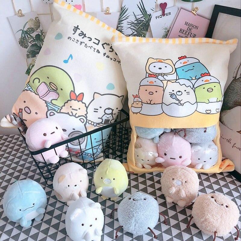 Una bolsa de 8 Uds. De Snack Pudding de juguete de peluche suave oso gato monstruo almohada de felpa almohada creativa de Anime almohada de dibujos animados muñeca juguetes para niños