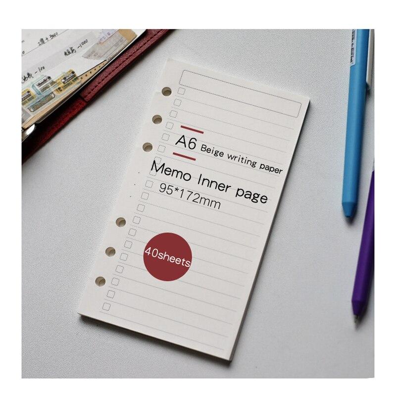 A6 pontilhado solto-folha caderno recarga espiral página interna de papel margarida planejador semanal rede de ponto de linha
