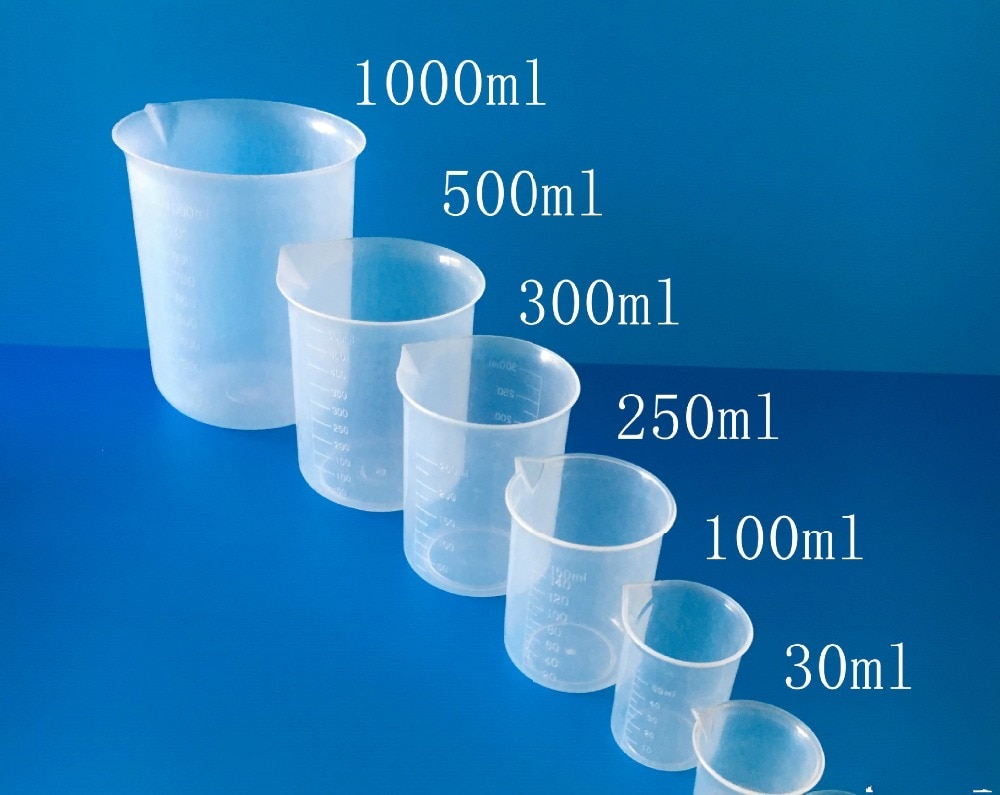 5 unids/set Set de vaso de precipitación de polipropileno graduado 5 tamaños 50 ml, 100 ml, 250 ml, 500 ml, 1000ml