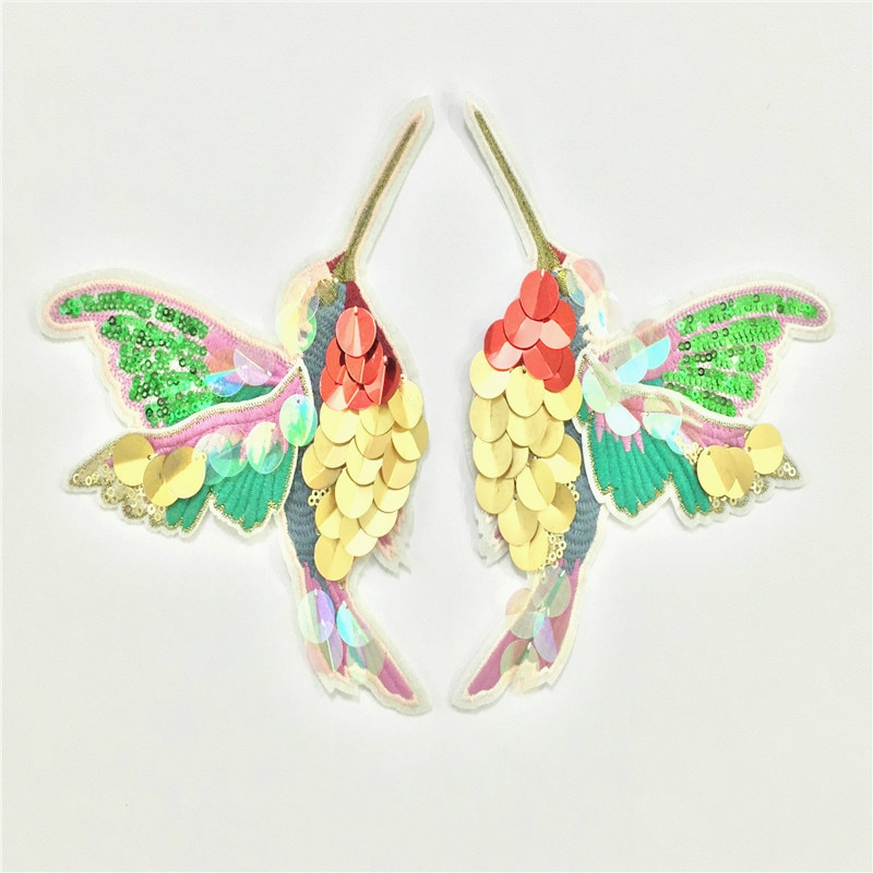 Parches de lentejuelas de colibrí con alas dobles, suéter bordado para mujer, abrigo, decoración, bordado cosido, pegatinas, parche para ropa DIY