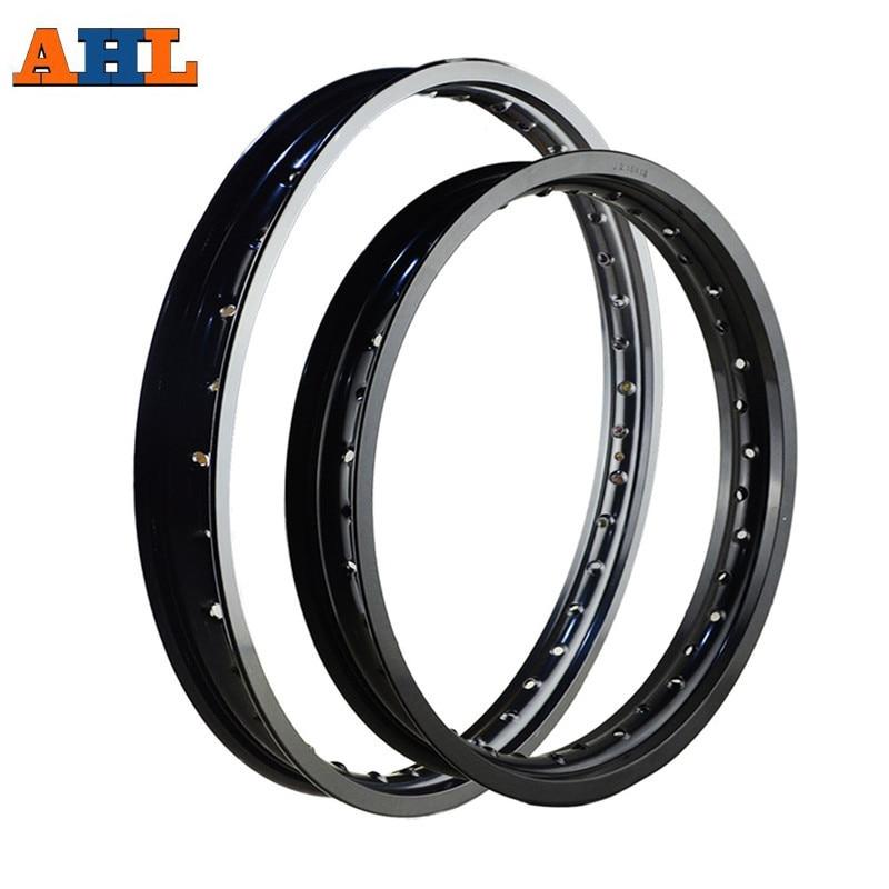 6061 Aviation Aluminum F & R Motorcycle Black / Silver Rims Wheel Circle 2.15x18 1.60x21 36 Spoke Holes High Strength Black