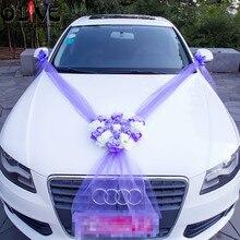 Artificial Flowers Car Decoration Sets Wedding Pompoms Silk Flower Foam Pearl Garland DIY Wreath Wedding Accessories