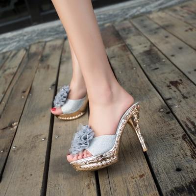 2019 nuevas zapatillas de lujo de mujer de moda de verano Sexy Super tacones altos 11,5 cm zapatos de fiesta de Peep Toe mujer plataforma femenina zapato de fiesta
