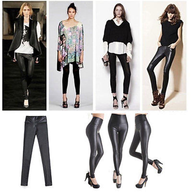 Leggings de couro elástico preto metálico brilhante da cintura alta mais um tamanho