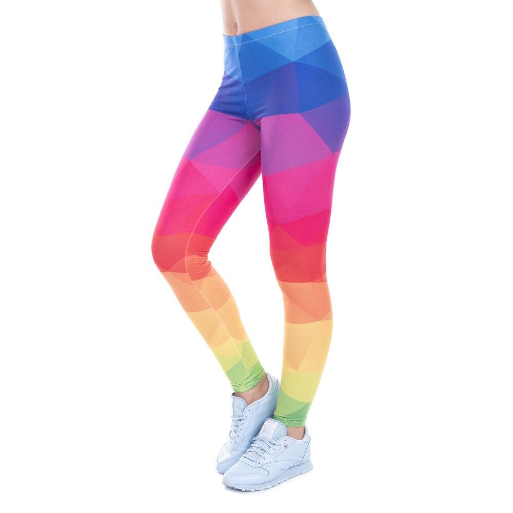 Leggings de fitness impresso feminino legging colorido triângulos arco-íris legins cintura alta elástico leggins silm calças femininas