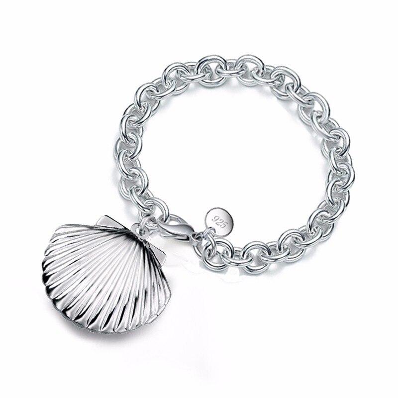 Dijes de moda precio de fábrica, pulsera de cadena de plata esterlina 925 gruesa de concha, pulseras de medallón con foto, joyería fina elegante
